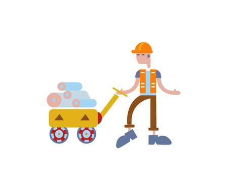 Loader worker man with rolls in the trolley. Person working in a warehouse. Delivery service. Concept for banners, infographics or webpages. Flat vector illustration. Isolated on white background.