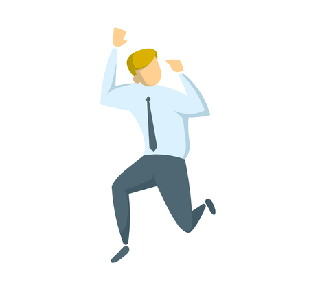 Businessman in white shirt running away. Concept for banners, infographics or websites. Flat vector illustration. Isolated on white background.
