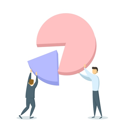 Two businessmen putting together portions of a pie chart. Profit sharing, successful partnerships, company shares ownership. Flat vector illustration. Isolated on white background. Иллюстрация