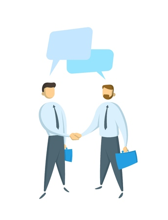 Two businessmen having a dialogue, conversation. Concept for banners, infographics or websites. Flat vector illustration. Isolated on white background. Иллюстрация