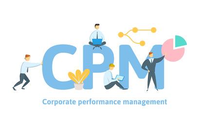 CPM, Gestion de la performance de l'entreprise. Concept avec des mots-clés, des lettres et des icônes. Illustration vectorielle plane colorée sur fond blanc. Vecteurs