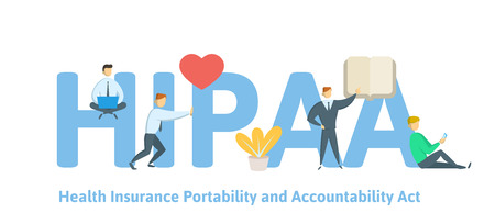 HIPAA, Health Insurance Portability and Accountability Act. Concept with keywords, letters and icons. Colored flat vector illustration on white background.