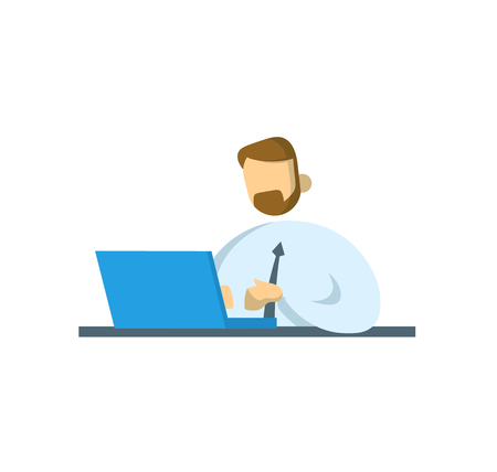 Businessman working at the desk. Office and business. Flat vector illustration. Isolated on white background.