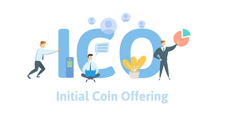 Initial Coin Offering, ICO. Concept with computer user, letters and icons. Colored flat vector illustration on white background.