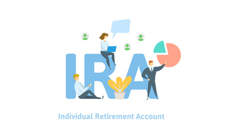 IRA, individual retirement account. Pension account, retirement. Concept with keywords, letters and icons. Colored flat vector illustration on white background.
