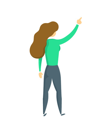 Young lady in green blouse with her right hand pointing up, back view. Flat vector illustration. Isolated on white background.