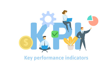 Key Performance Indicators, KPI. Concept with keywords, letters and icons. Colored flat vector illustration on white background.