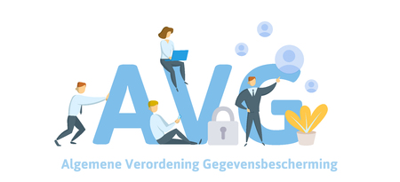 GDPR in Netherlands. Algemene verordening gegevensbescherming. People sitting on big AVG letters with symbols around. GDPR, AVG, DSGVO, DPO. Flat vector illustration. Isolated.