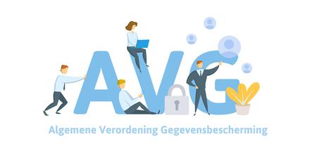 GDPR in Netherlands. Algemene verordening gegevensbescherming. People sitting on big AVG letters with symbols around. GDPR, AVG, DSGVO, DPO. Flat vector illustration. Isolated. Stok Fotoğraf - 113450353