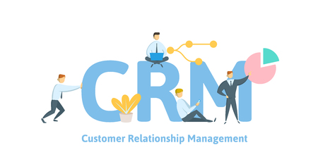 CRM, customer relationship management. Concept with keywords, letters and icons. Colored flat vector illustration on white background.