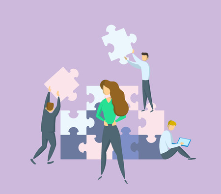 Businesswomen in front of giant puzzle pieces. Lady boss in charge. Teamwork and leadership concept. Partnership and collaboration. Flat vector illustration. Isolated.