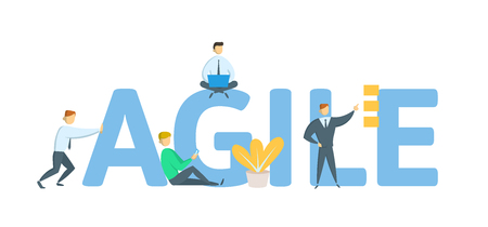 AGILE. Concept with keywords, letters and icons. Colored flat vector illustration on white background.
