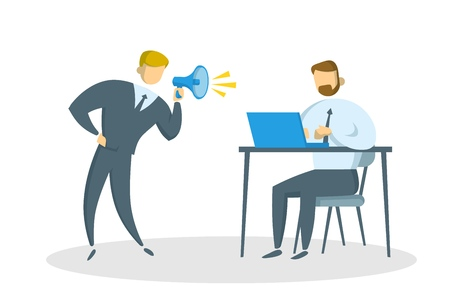 Angry businessman with megaphone shouting at the manager in the office. Bullying At Work. Colored flat vector illustration. Isolated on white background.