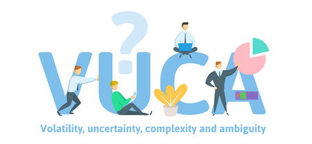 VUCA, volatility, uncertainty, complexity and ambiguity of general conditions and situations. Concept with keywords, letters and icons. Colored flat vector illustration on white background.