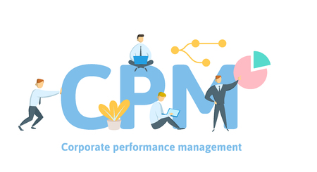 CPM, Corporate Performance Management. Concept with keywords, letters and icons. Colored flat vector illustration on white background.