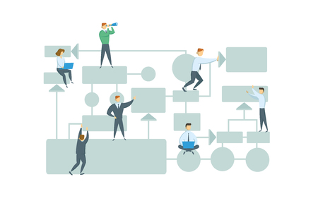 Teamwork, business workflow layout with chart elements and people figures. Business plan. Flat vector illustration. Isolated on white background. Иллюстрация