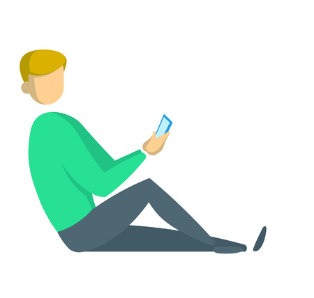 Young man in green sweater sitting on the floor with his smartphone leaning against the wall. Freelancing and digital marketing, social media. Flat vector illustration. Isolated on white background.