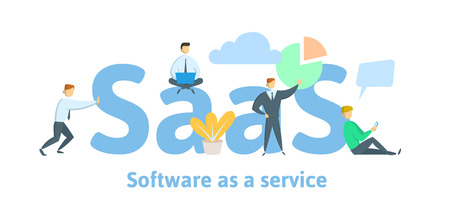 SaaS, software as a service. Cloud software on computers, mobile devices, codes, app server and database. Flat vector illustration, isolated on white background.