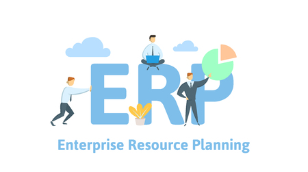 ERP, enterprise resource planning. Productivity and improvement. Concept table with people, letters and icons. Colored flat vector illustration on white background.