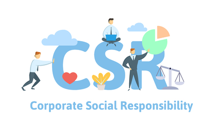 CSR, Corporate Social Responsibility. Concept with keywords, letters and icons. Colored flat vector illustration on white background.