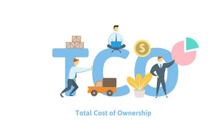 TCO, Gesamtbetriebskosten. Konzept mit Schlüsselwörtern, Buchstaben und Symbolen. Farbige flache Vektorillustration auf weißem Hintergrund.