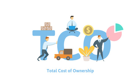 TCO, Total Cost of Ownership. Concept with keywords, letters and icons. Colored flat vector illustration on white background. Stock Illustratie