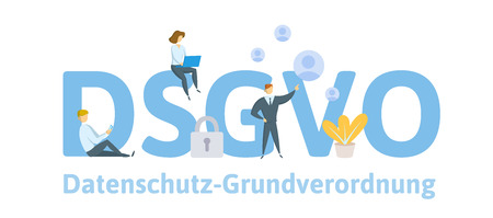 People using mobile gadgets and internet devices among big DSGVO letters. GDPR, RGPD. Concept flat vector illustration. Isolated.
