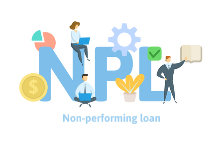 NPL, non-performing loan. Concept with keywords, letters and icons. Colored flat vector illustration on white background.