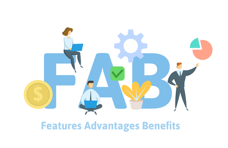 FAB, Features Advantages Benefits. Concept with keywords, letters and icons. Colored flat vector illustration on white background.