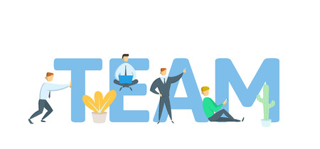 TEAM. Concept with keywords, letters and icons. Colored flat vector illustration on white background.