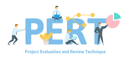 PERT, Project evaluation and review technique. Concept with keywords, letters and icons. Colored flat vector illustration on white background.