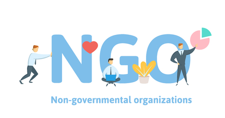 NGO, Non-Governmental Organization. Concept with keywords, letters and icons. Colored flat vector illustration on white background.