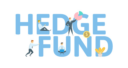 Hedge Fund. Concept with keywords, letters and icons. Colored flat vector illustration, isolated on white background. Иллюстрация