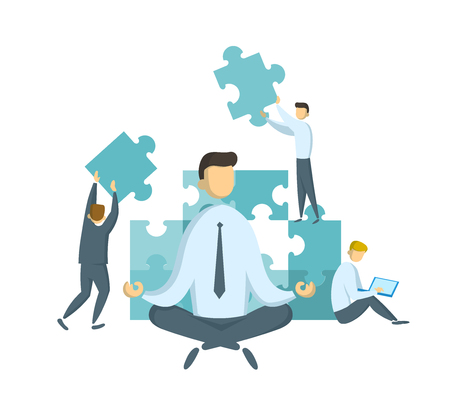 Businessman in lotus pose watching puzzle pieces being put together. Teamwork and leadership concept. Leader and stress management. Partnership and collaboration. Flat vector illustration. Isolated. Иллюстрация
