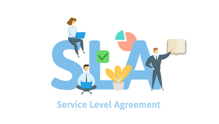 SLA, Service Level Agreement. Concept with keywords, letters and icons. Colored flat vector illustration on white background. Иллюстрация