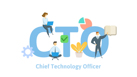 CTO, Chief Technology Officer. Concept with keywords, letters and icons. Colored flat vector illustration on white background.