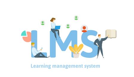 LMS, learning management system. Concept with keywords, letters and icons. Colored flat vector illustration on white background.