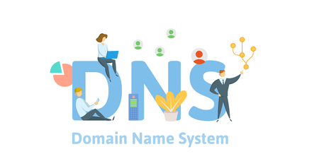 DNS concept, Domain Name System. Concept with keywords, letters and icons. Colored flat vector illustration on white background.