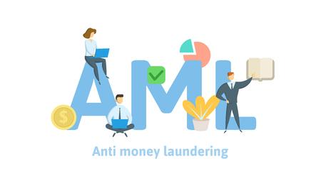 AML, lutte contre le blanchiment d'argent. Concept avec des mots-clés, des lettres et des icônes. Illustration vectorielle plane colorée sur fond blanc.