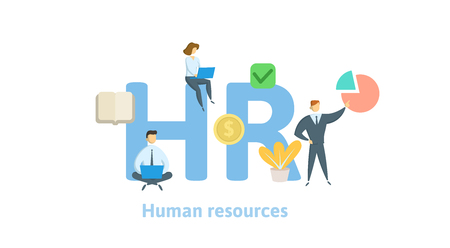 HR, Human resources. Concept with keywords, letters and icons. Colored flat vector illustration on white background. Isolated Illustration