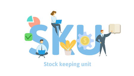 SKU, stock keeping unit. Concept with keywords, letters and icons. Colored flat vector illustration on white background. Isolated.
