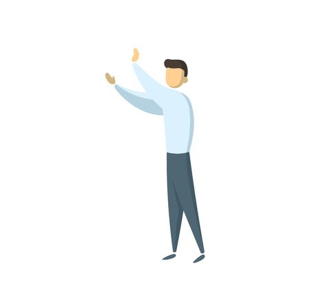 Man holding unseeing object. Businessman in white shirt push something or claps his hands. Concept for banners, infographics or websites. Flat vector illustration. Isolated on white background.