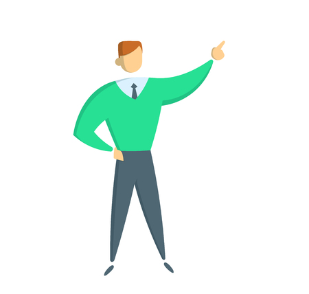 Businessman pointing up. Full-length figure of a casually dressed businessman. Flat vector illustration. Isolated on white background. Illusztráció