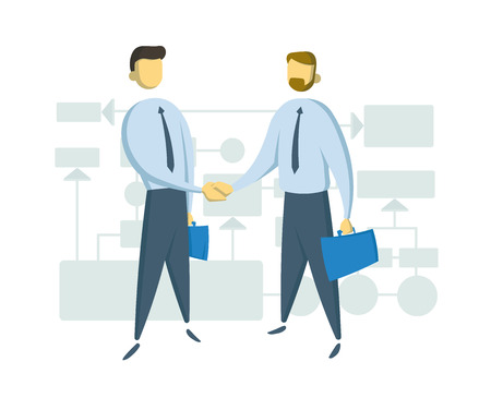 Two businessmen shaking hands in front of schematic business chart. Colorul flat vector illustration. Isolated on white background. Иллюстрация