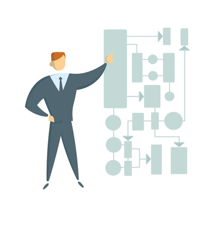 Young entrepreneur showing business project plan, presentation, chart, or scheme. Colorful flat style vector illustration. Isolated on white background.