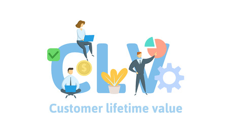 CLV, customer lifetime value. Concept with keywords, letters and icons. Stock Photo