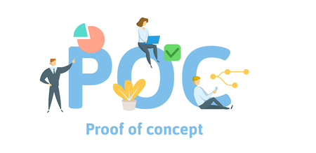 POC, Proof of concept. Concept with keywords, letters, and icons. Colored flat vector illustration. Isolated on white background. Иллюстрация