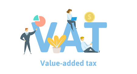 VAT, value added tax. Concept with keywords, letters, and icons. Colored flat vector illustration. Isolated on white background. Ilustração