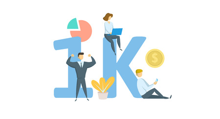 1K likes online social media banner. Concept with keywords, letters, and icons. Colored flat vector illustration. Isolated on white background. Иллюстрация