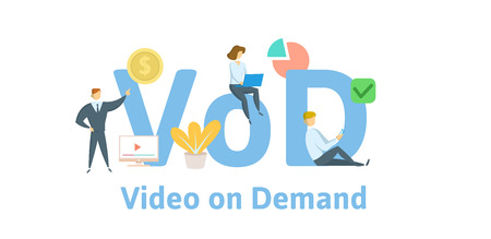 VOD, video on demand. Concept with keywords, letters, and icons.